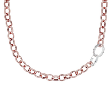 Bronzallure Rolo Link Necklace with Pave Link and Silver Link