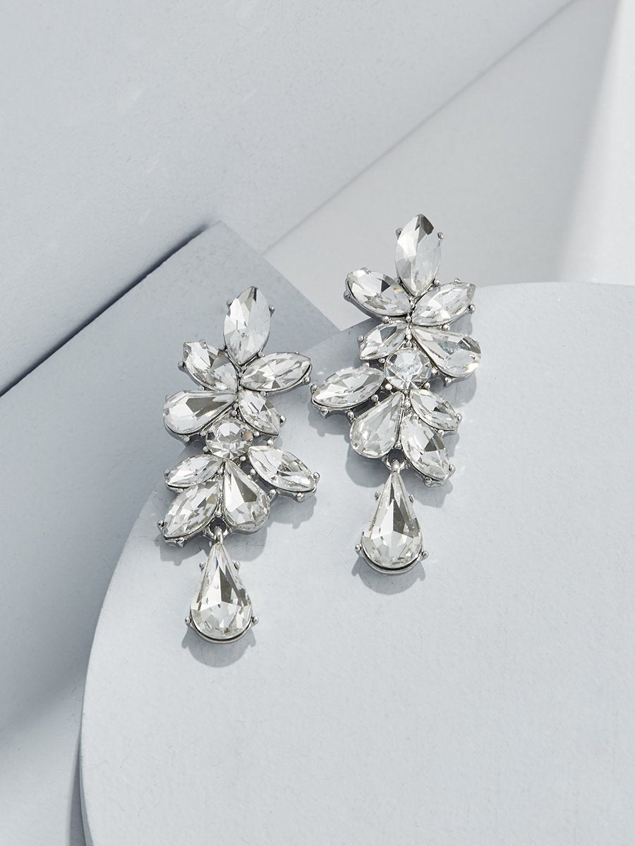Olive & Piper Silver 'Valentina' Cascading Crystal Earrings