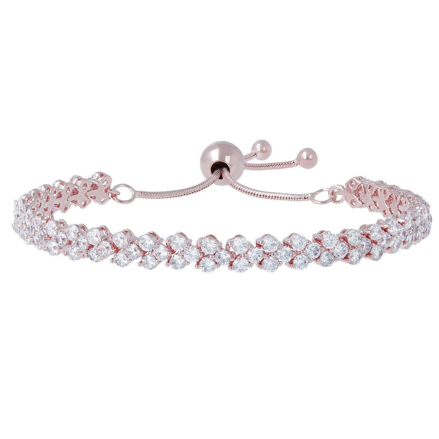 Bronzallure Double Row Clear Cz Adjustable Tennis Bracelet
