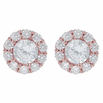 Bronzallure Fancy Button Earrings With White Cz