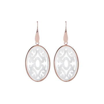 Bronzallure Dangle Earrings With Filigree White Mother Of Pearl