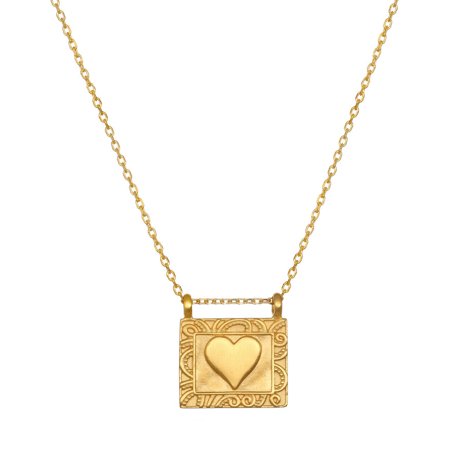 Satya Gold Rectangle Heart Necklace