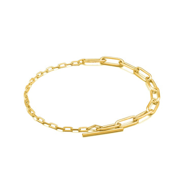 Ania Haie Gold Mixed Link T-Bar Bracelet