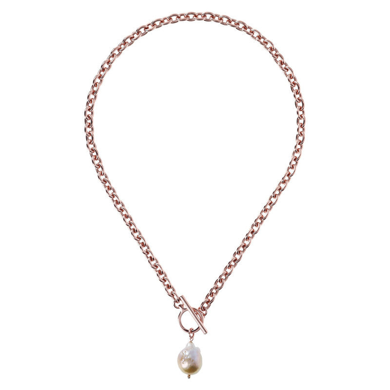Bronzallure Oval Rolo Necklace with Rose Pearl