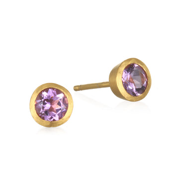 Satya Gold Amethyst Stud Bezel Earrings