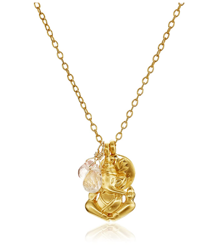 Satya Rose and Cherry Quartz Ganesha Lotus Necklace
