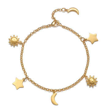 Satya Gold Sun and Moon Charm Bracelet