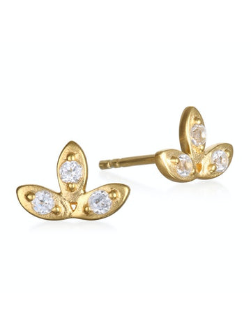 Satya Gold White Topaz Lotus Stud Earrings