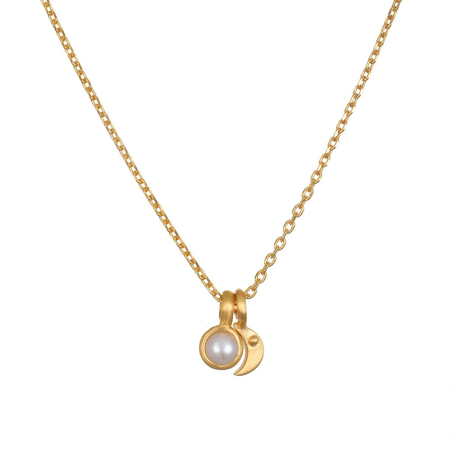 Satya Gold Moon Pearl Necklace