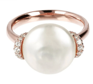 Bronzallure Cultured Coin Pearl and Gemstone Ring Sz 7