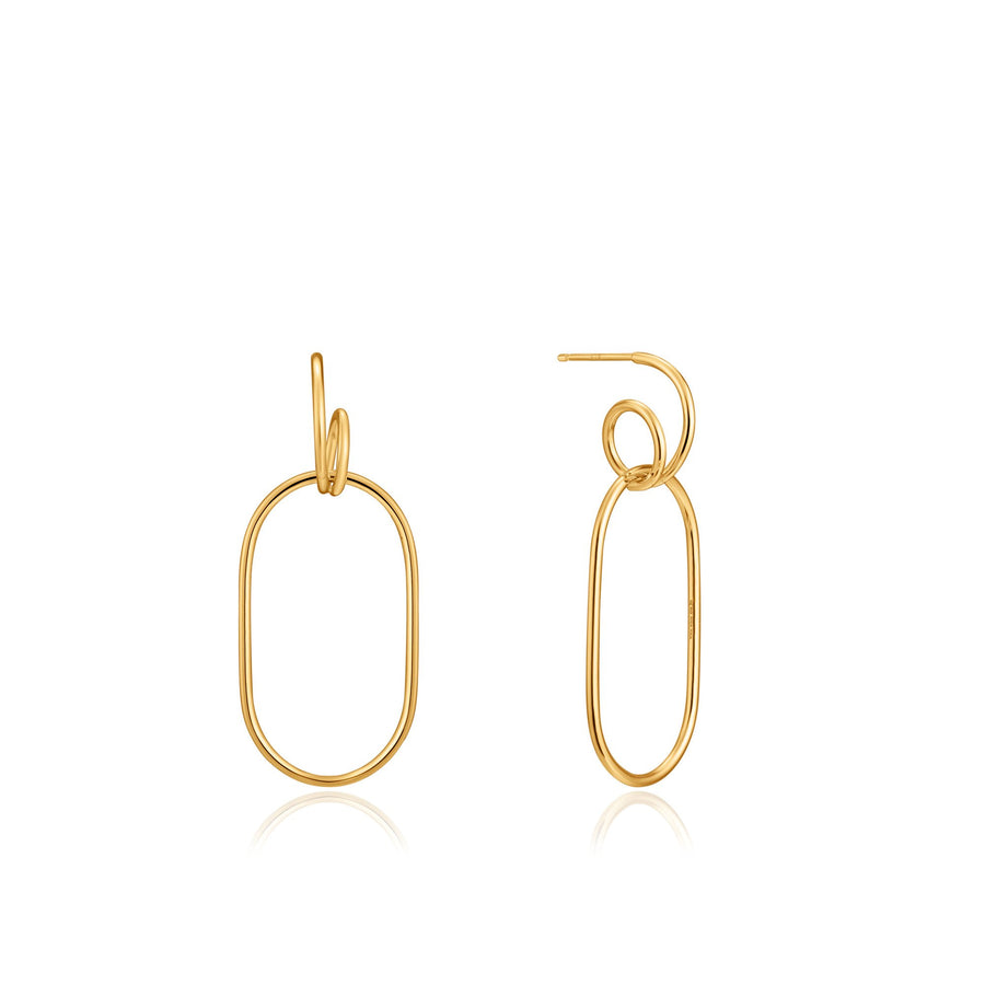 ANIA HAIE GOLD SPIRAL OVAL HOOP EARRINGS