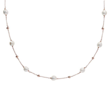 Bronzallure Long Necklace with Beads and Ming Pearl