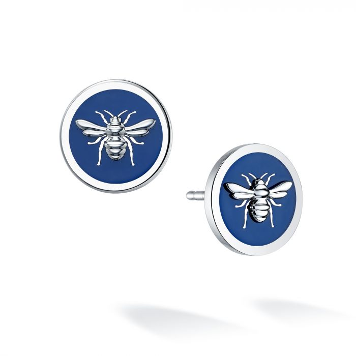 Birks Sterling Blue Enamel Bee Chic Studs