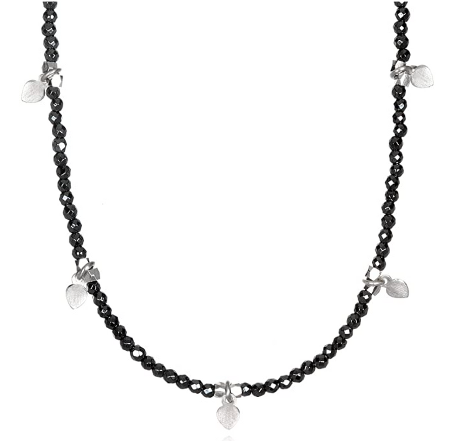 Satya Hematite Sterling Silver Lotus Petal Choker Necklace