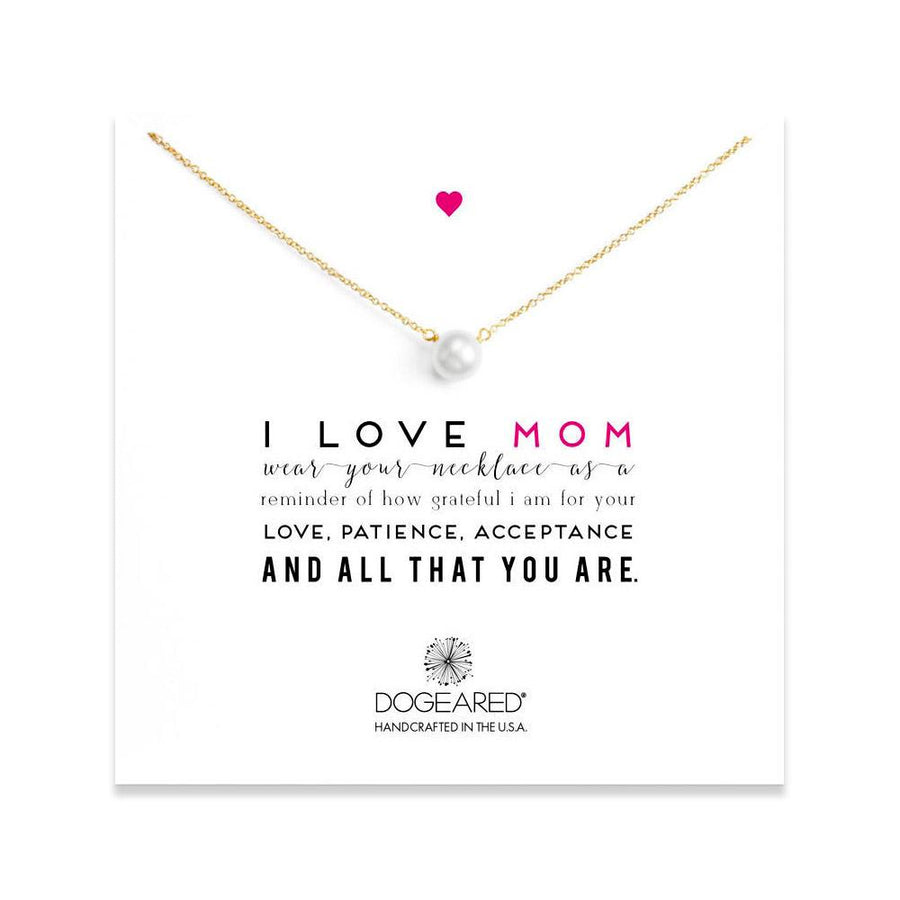 DOGEARED I LOVE MOM, LARGE WHITE PEARL NECKLACE, GD, 18