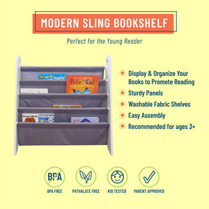 Modern Sling Bookshelf - White with Gray Canvas
