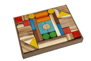 Natural Color Wooden Blocks - 34 Pieces
