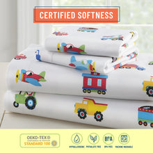 Load image into Gallery viewer, Trains Planes & Trucks 100% Organic Cotton Flannel Fitted Crib Sheet