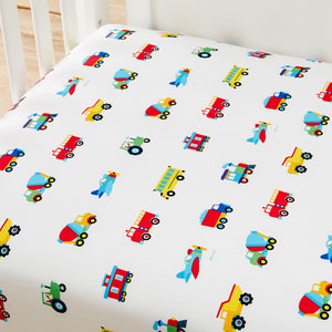 Trains Planes & Trucks 100% Organic Cotton Flannel Fitted Crib Sheet