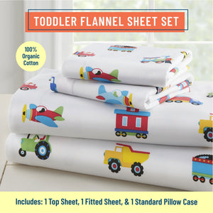 Trains Planes & Trucks 100% Organic Cotton Flannel Sheet Set