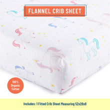 Load image into Gallery viewer, Unicorn 100% Organic Cotton Flannel Fitted Crib Sheet
