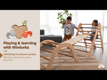 Load and play video in Gallery viewer, Wiwiurka Climbing Furniture Combo (medium triangle, climbing arch, reversible board)