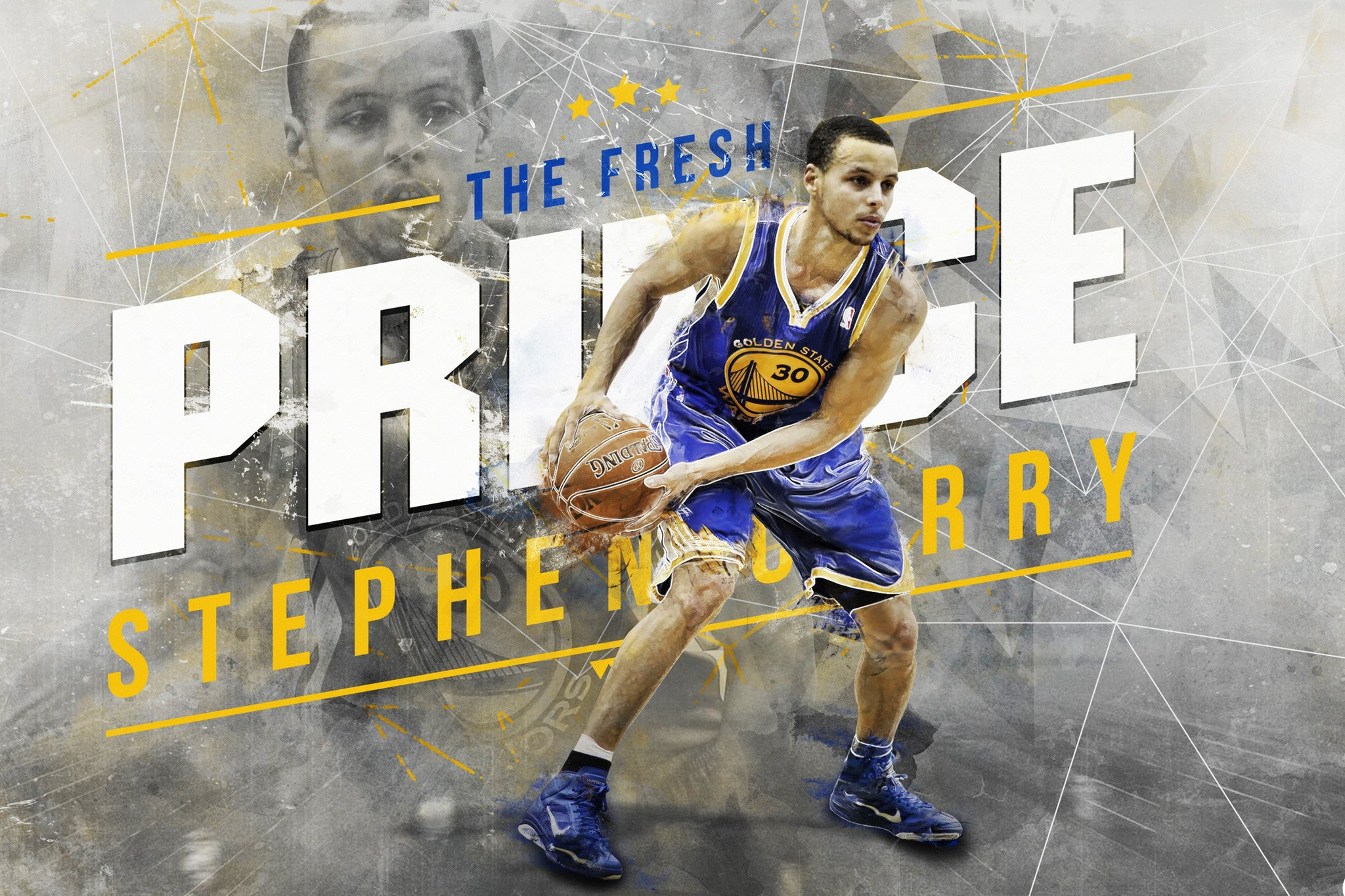 stephen curry - the fresh prince - golden state warriors nba 12x18