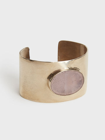Rose Quartz & Bronze Cuff