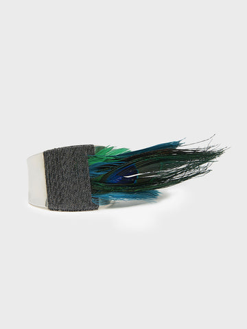 Sterling Silver Cuff with Feathers by Simon Alcantara | DARA Artisans