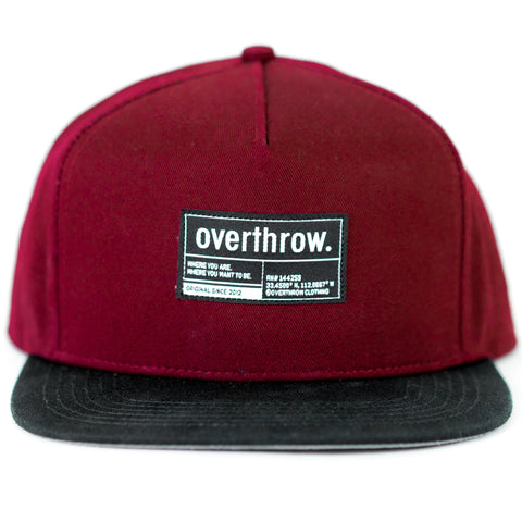 Label Snapback in Cardinal - Overthrow Clothing  - 1