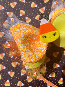 Candy Corn Shaker Bow Headband-Glow in the dark