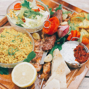 Mixed Grill Combo with Chicken, Kofta, Pork Souvlakia + Green Salad + Rice + Fries + Baklava