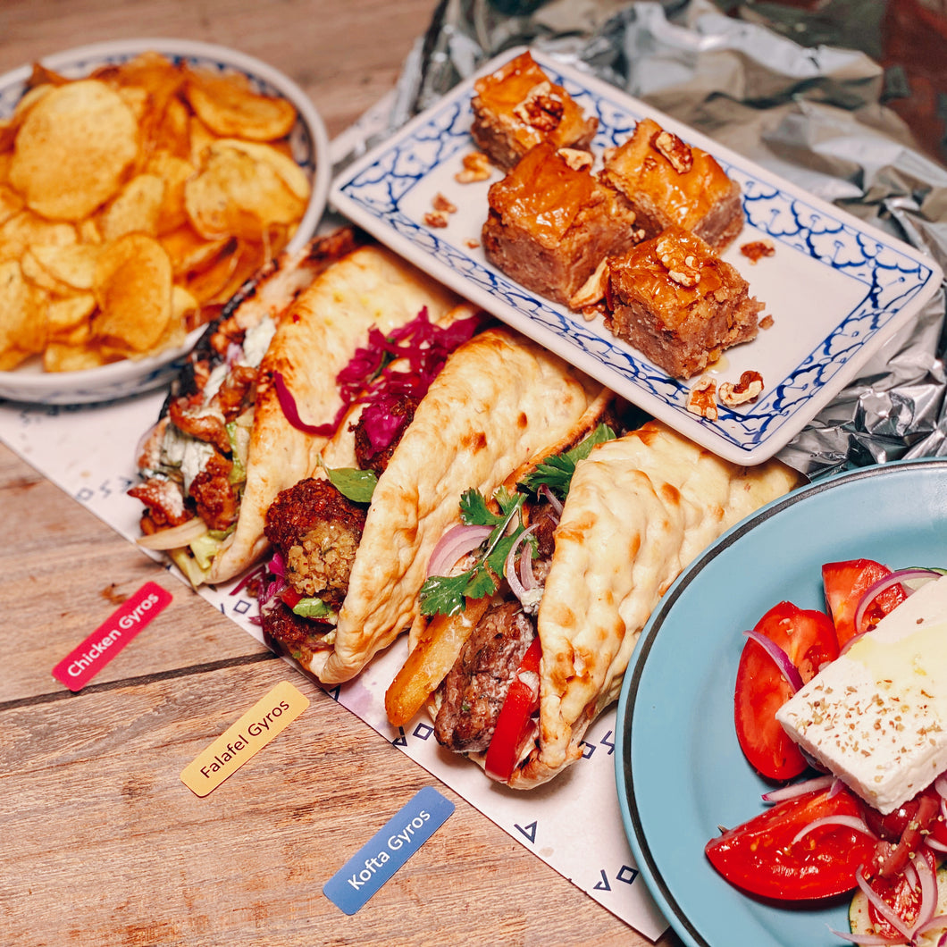Epic Gyros Set (Chicken) -   3 Chicken Gyros + Greek Salad + Fries + Baklava