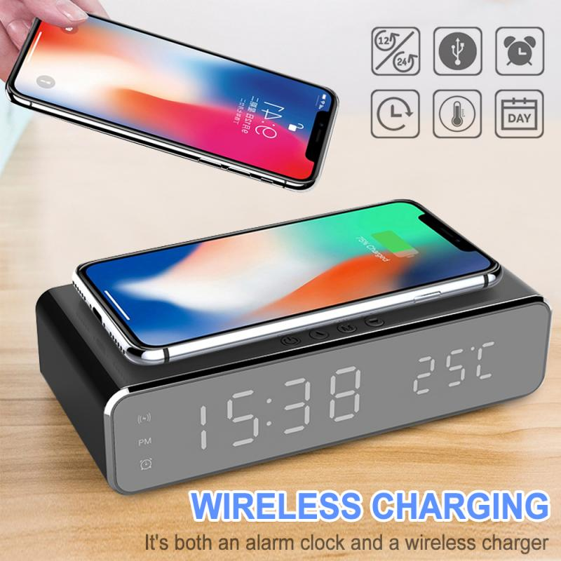 LED Electric Charger Wireless Alarm Clock