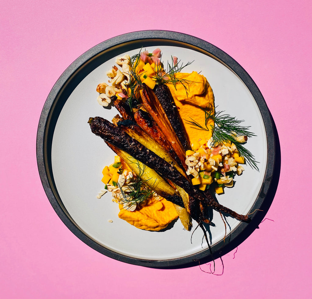 roasted carrots, hazelnuts, dill and mango vegan fine dining
