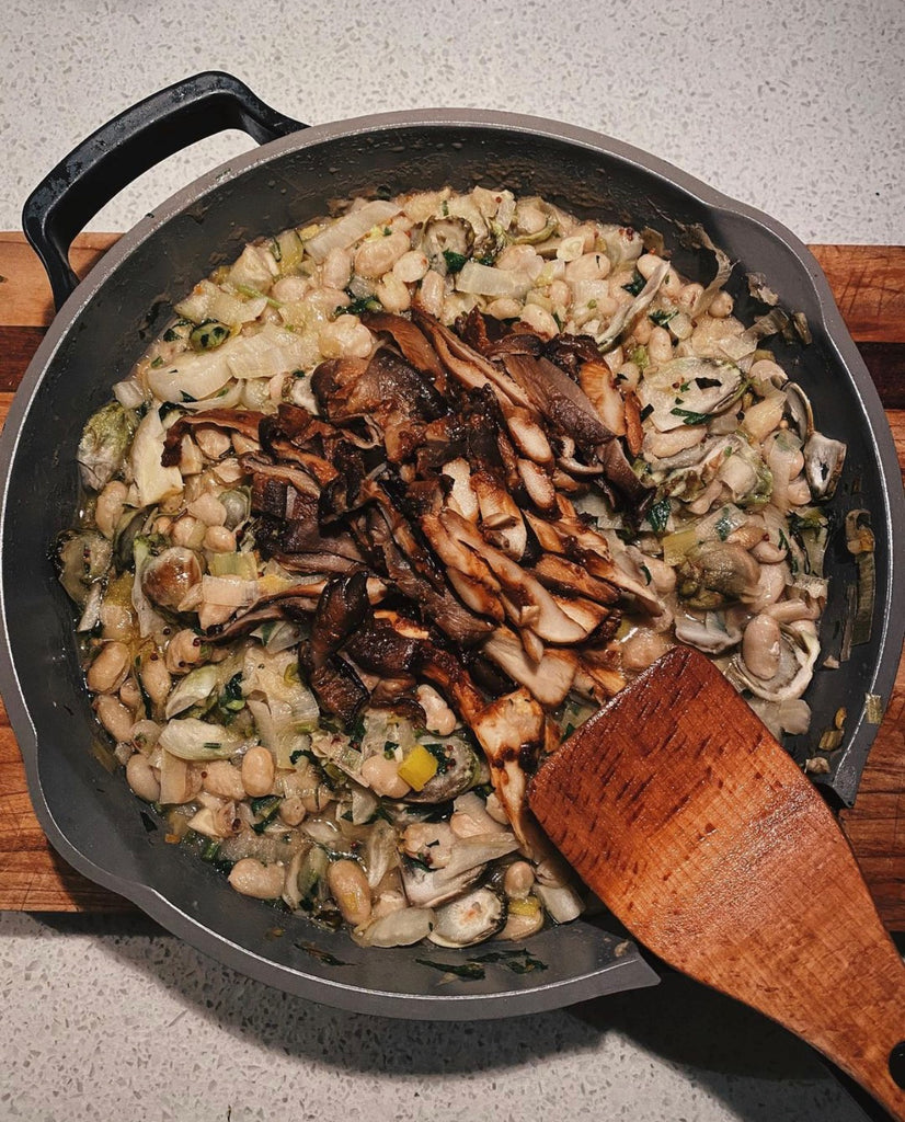 hearty, savoury and delicious mushroom and braised white beans. tons of protein, tons of flavour!