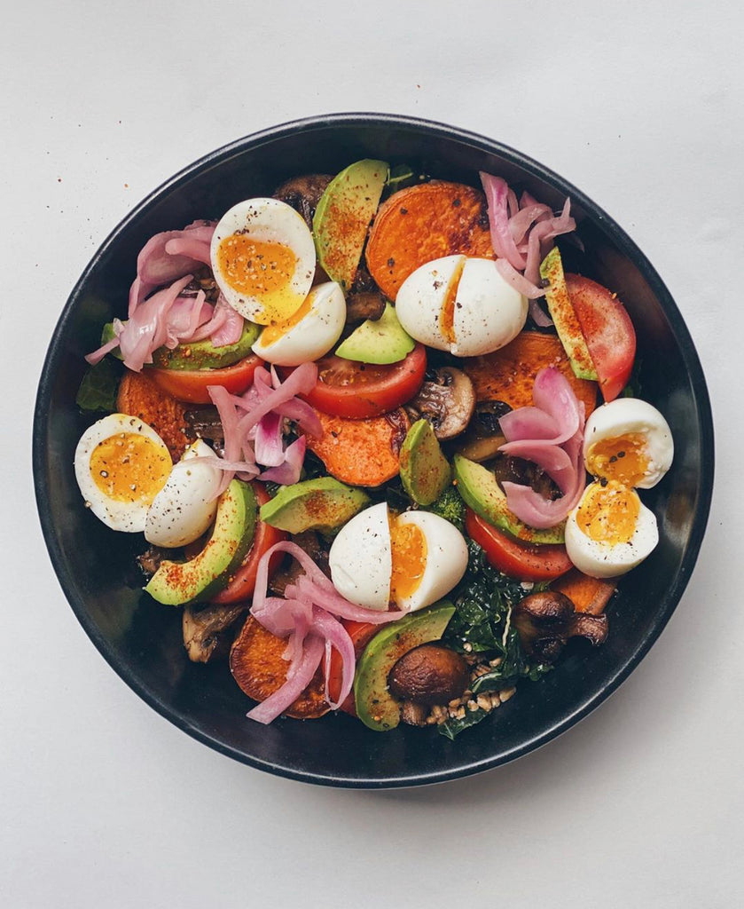 a salad that eats like a meal. with eggs, roasted vegetables and avocado this is a healthy salad that is full of flavour!