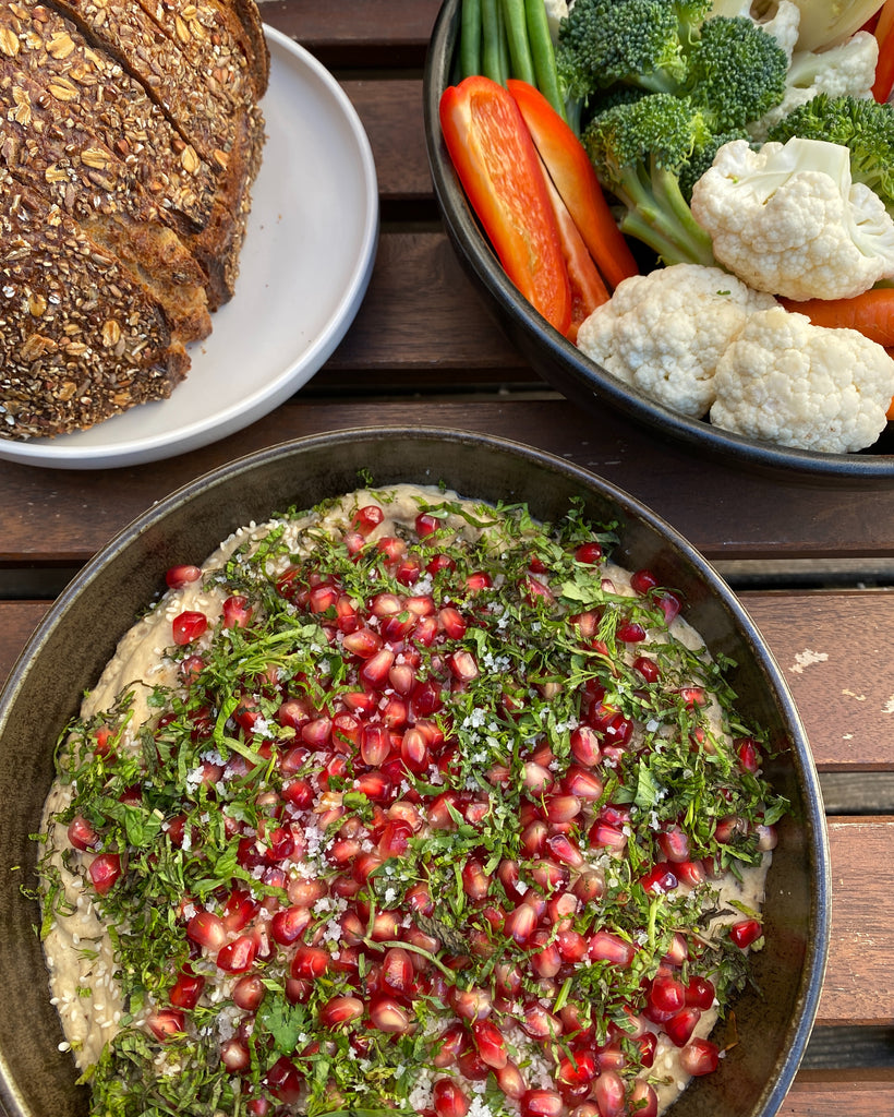 vegan eggplant dip with herbs and pomegranate