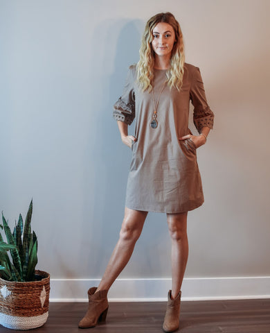 Taupe Scallop Dress