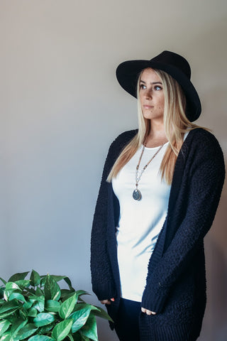 Black Popcorn Cardigan With Pockets