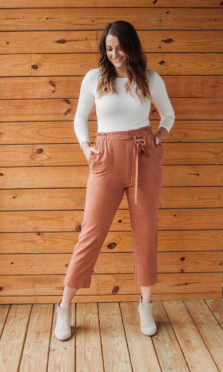 Marsala High Waisted Tie Pant