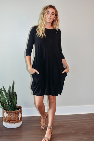 Black Mid Sleeve Pocket Dress