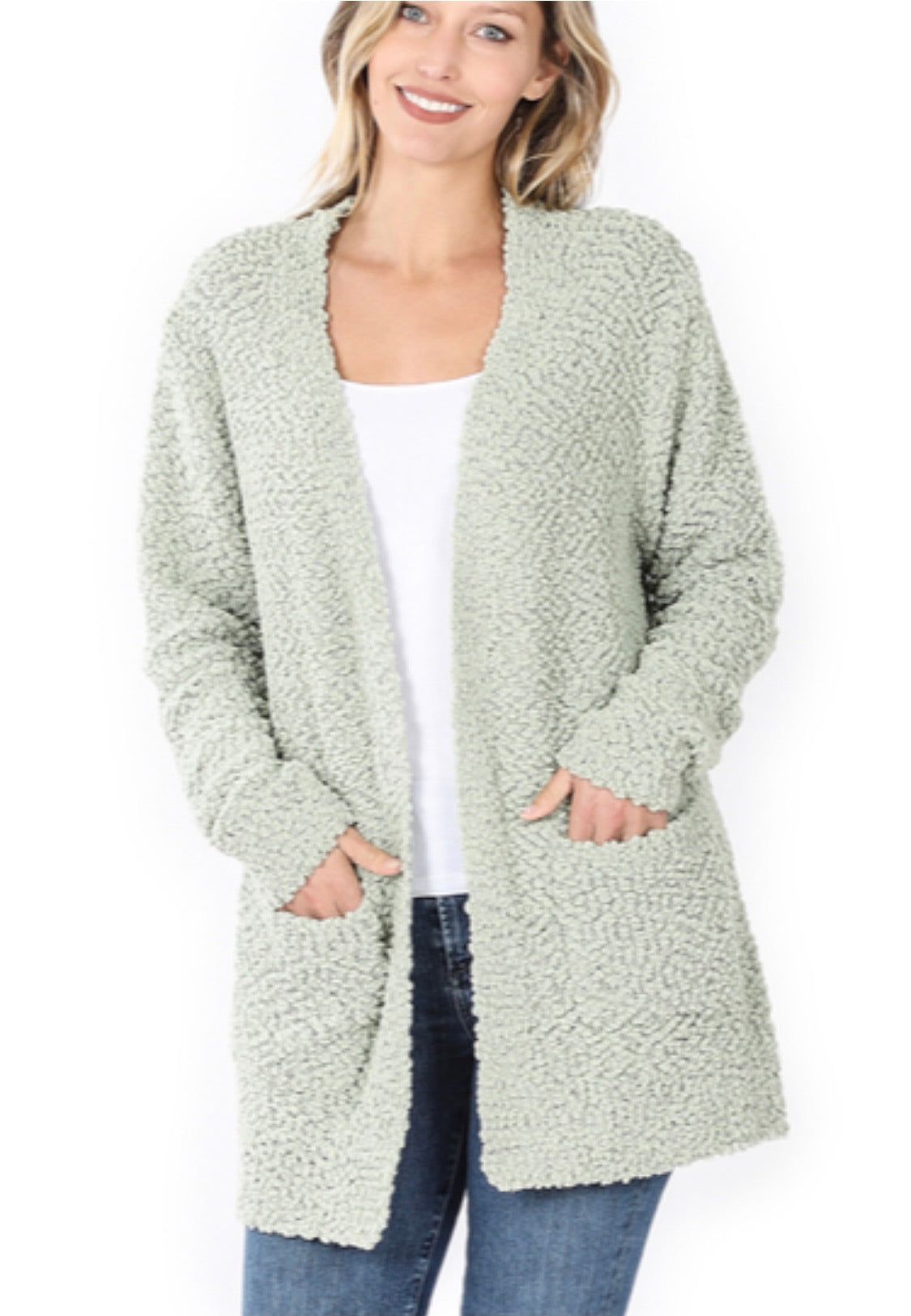 Sage Popcorn Cardigan With Pockets