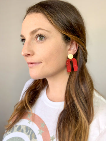 Red Arch Cork Leather Earrings