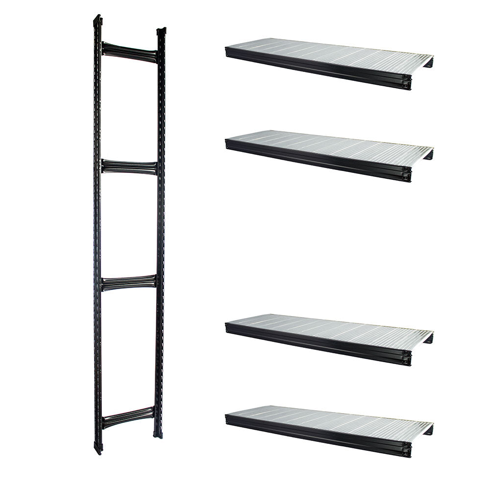 Boltless Rack Extension | 4 Shelf Levels | Black | SIM WIN LIANG Singapore