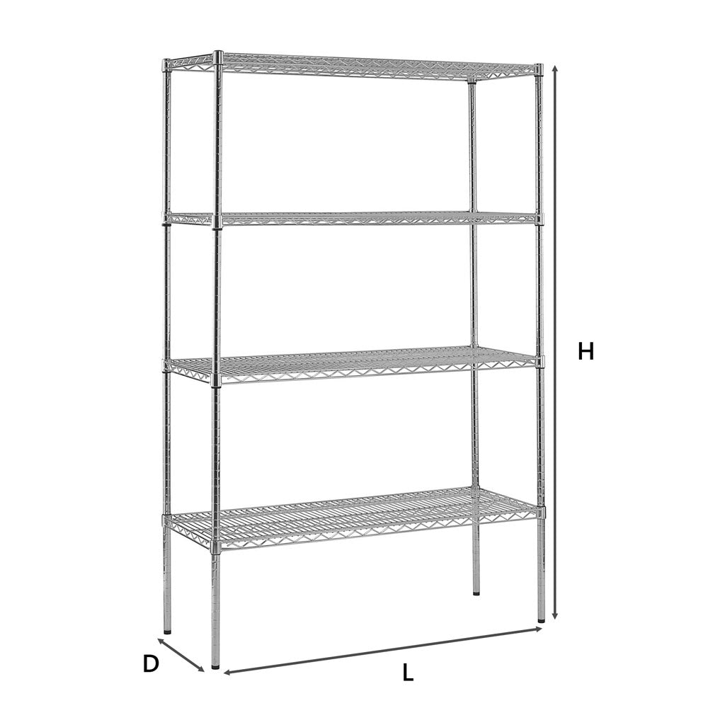 Chrome Plated Wire Storage Rack, 4 Shelf Levels - Sim Win Liang