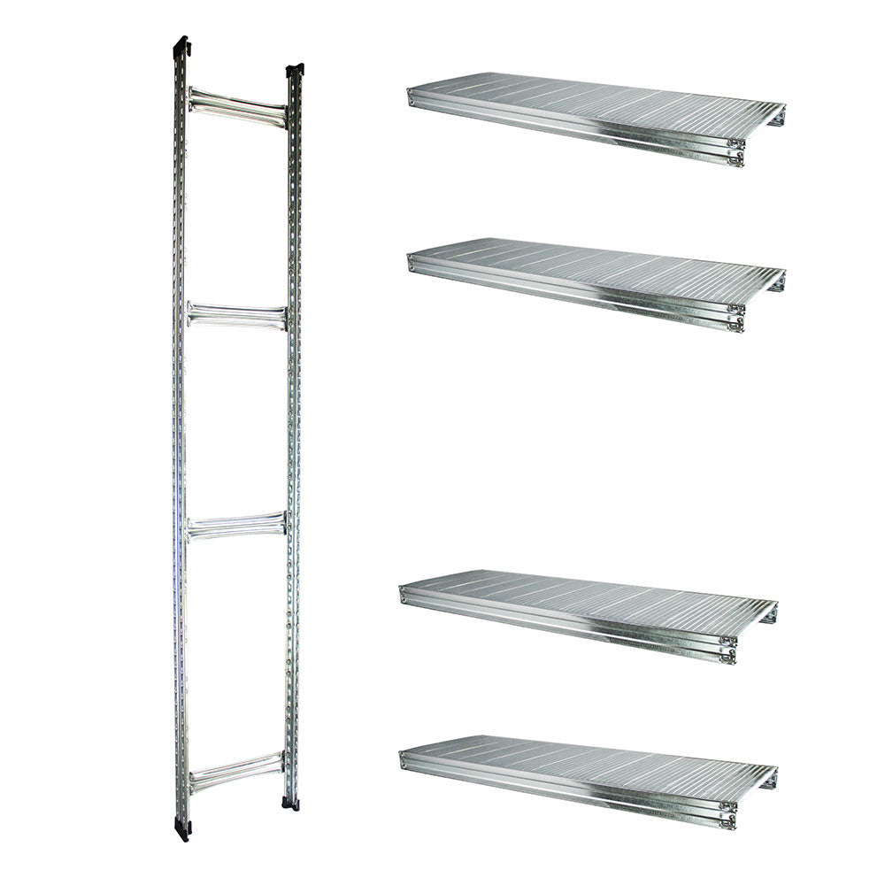 Boltless Rack Extension | 4 Shelf Levels | Silver | SIM WIN LIANG Singapore