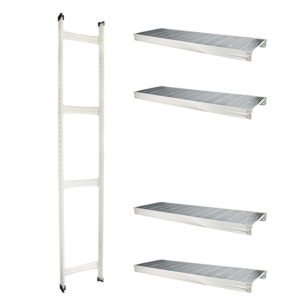 Boltless Rack Extension | 4 Shelf Levels | White | SIM WIN LIANG Singapore