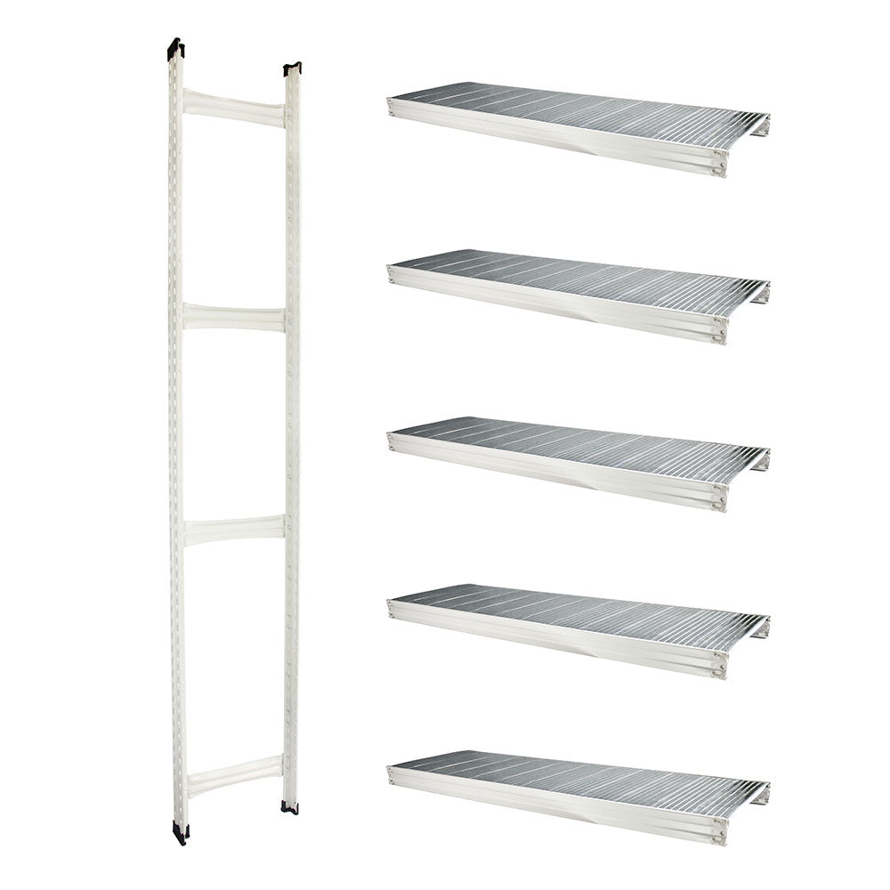 Boltless Rack Extension | 5 Shelf Levels | White | SIM WIN LIANG Singapore