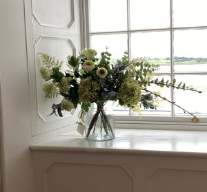 Luxurious artificial faux flower arrangement in a vase. Available for shipping across Ireland